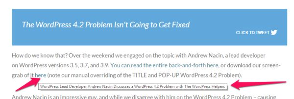 WordPress 4.2 Problem With Title Links Addressed Manually
